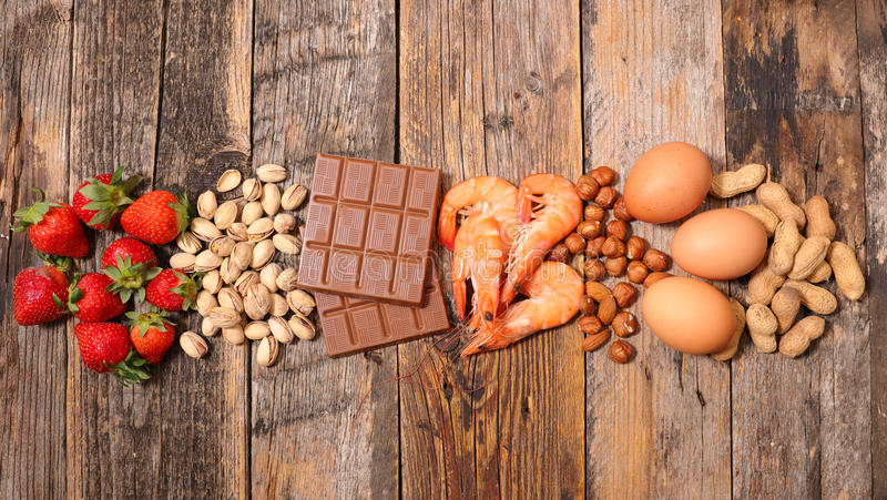 Selection of allergy food stock photo
