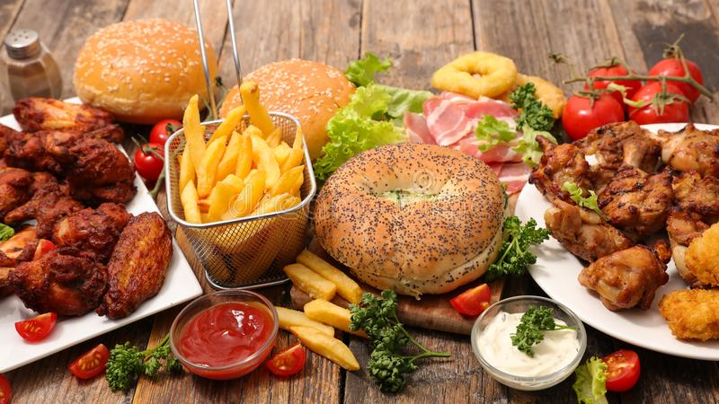 Selection of american food. On wood royalty free stock images