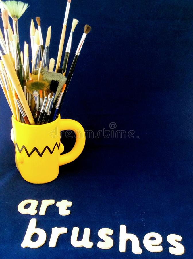 selection of artists paint brushes stock images