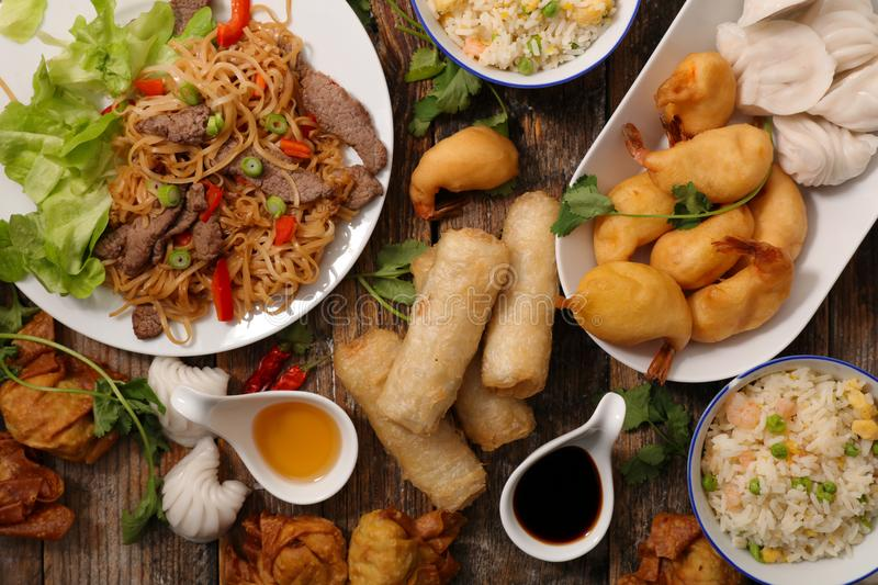Selection of asia food. Top view stock images