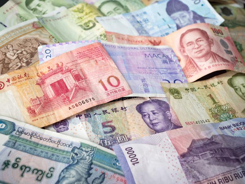 Selection of Asian Money Currency banknotes stock photos