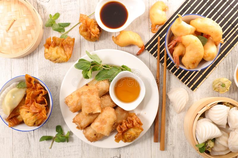 Selection of asian food. Top view royalty free stock photo