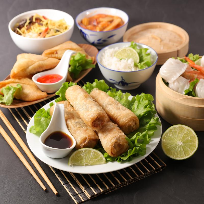 Selection of asian meal with spring roll royalty free stock photos