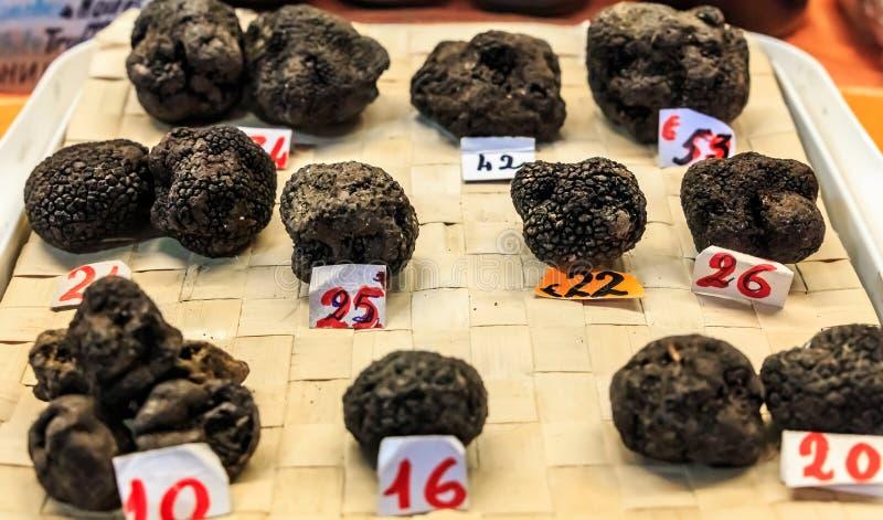 Selection of Black Truffles Tuber melanosporum on display at a market stall in Ventimiglia, Umbria Italy royalty free stock photos