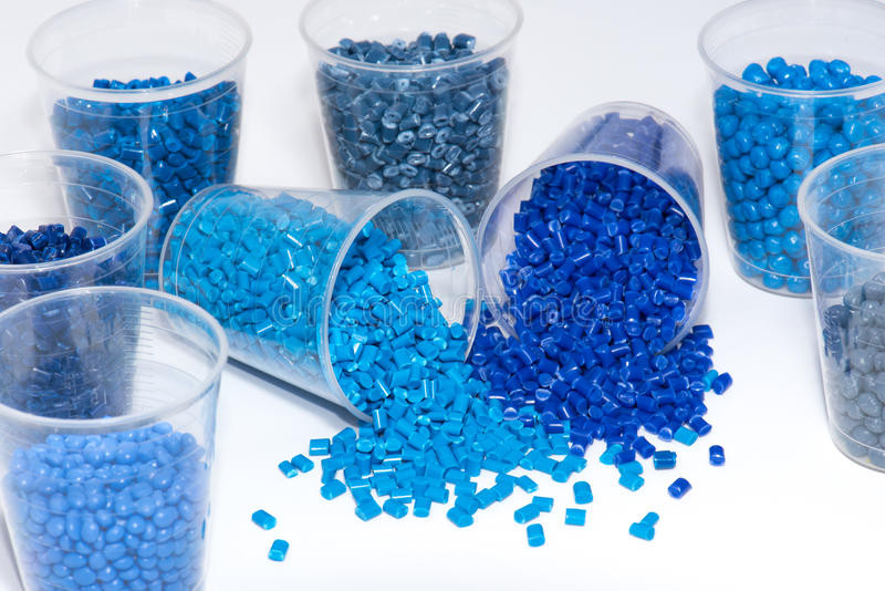 Selection of blue thermoplastic resin stock photography