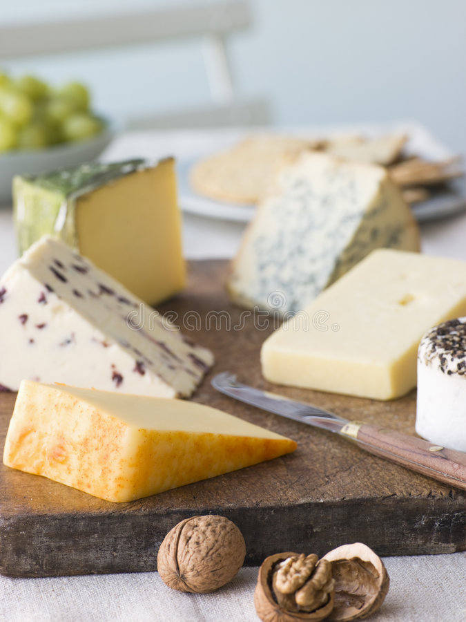 Selection of British Cheeses with Walnuts Biscuits