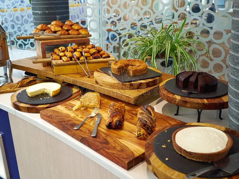 Selection of cakes on the table stock image