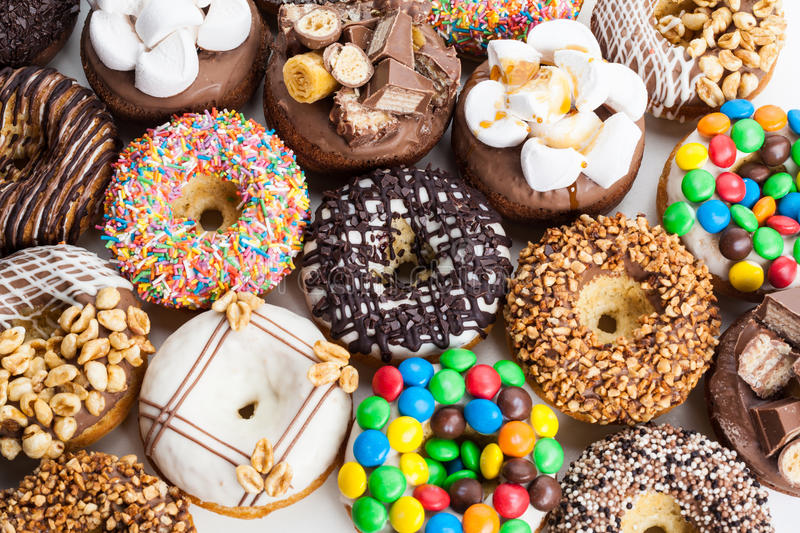 Selection of colorful donuts royalty free stock photo