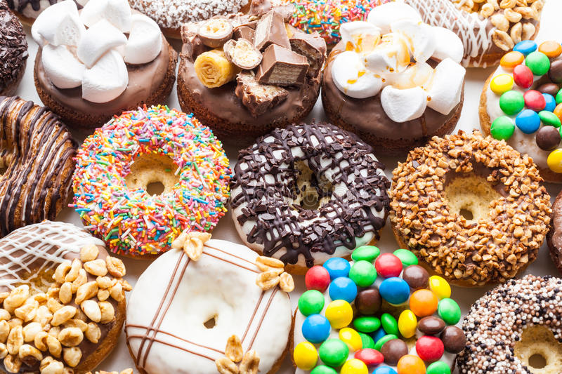 Selection of colorful donuts stock photos