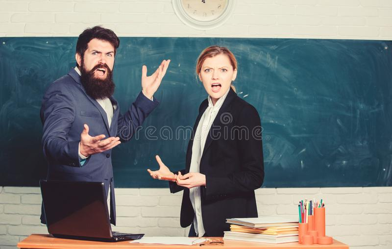 Selection committee concept. Teacher and educator outraged test exam results. Examination board. College internship stock photo