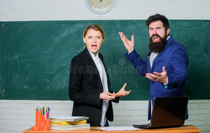 Selection committee concept. Teacher and educator outraged test exam results. Examination board. College internship. Failed test exam. Failed exam. Meager royalty free stock photo