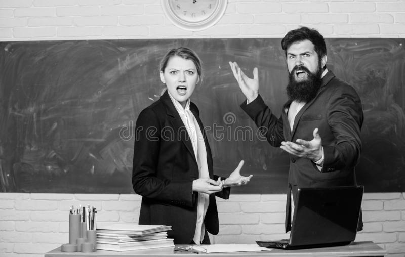 Selection committee concept. Teacher and educator outraged test exam results. Examination board. College internship. Failed test exam. Failed exam. Meager stock image