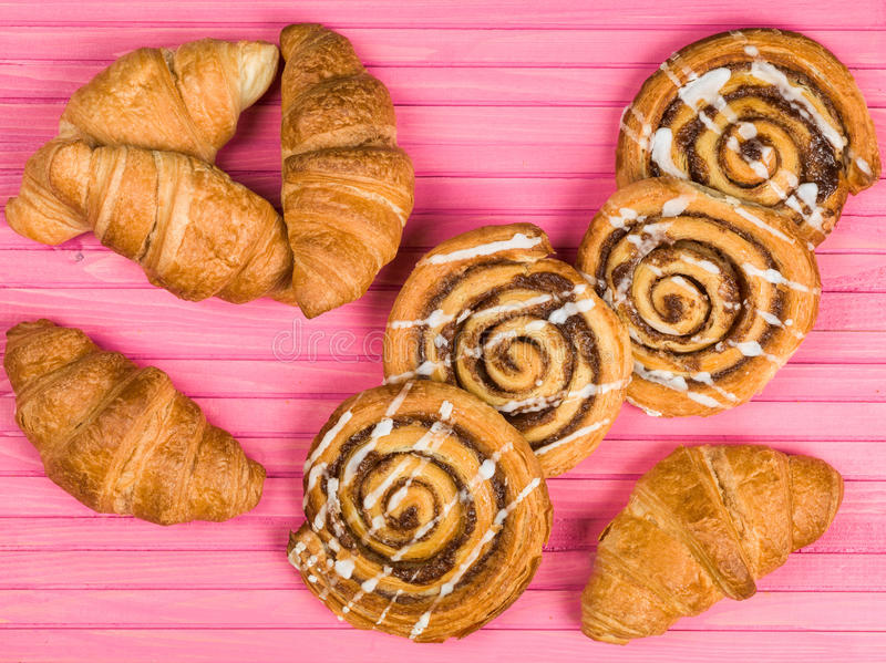 Selection of Croissants and Cinnamon Swirls royalty free stock images