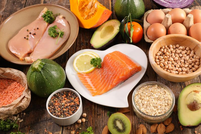 Selection of diet food. Health food assortment stock photos