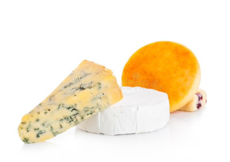 Selection of different cheese on white background royalty free stock photography