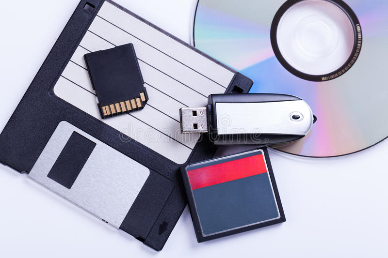 Selection of different computer storage devices royalty free stock photo