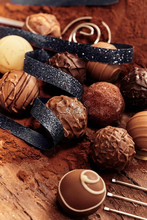 Selection of different handmade chocolate balls stock photo