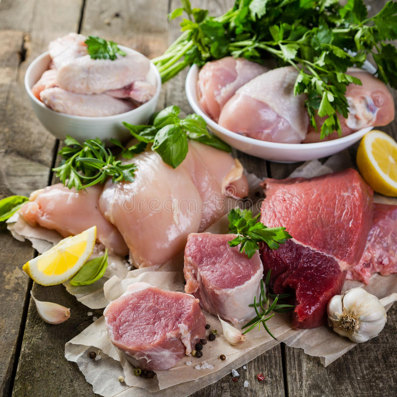 Selection of different meat cuts stock images