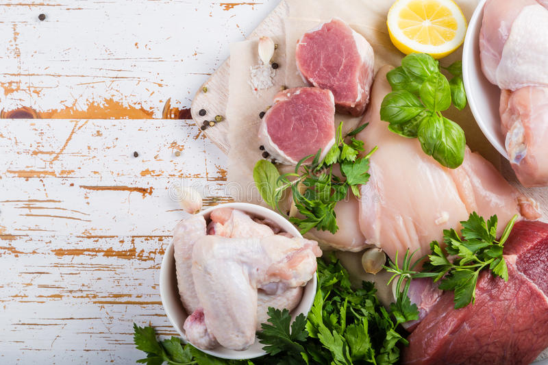 Selection of different meat cuts royalty free stock photos