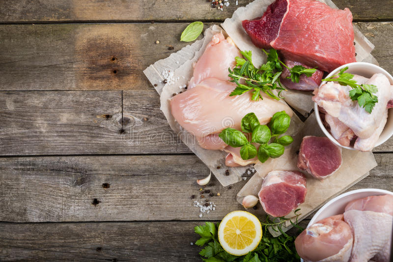 Selection of different meat cuts stock photography
