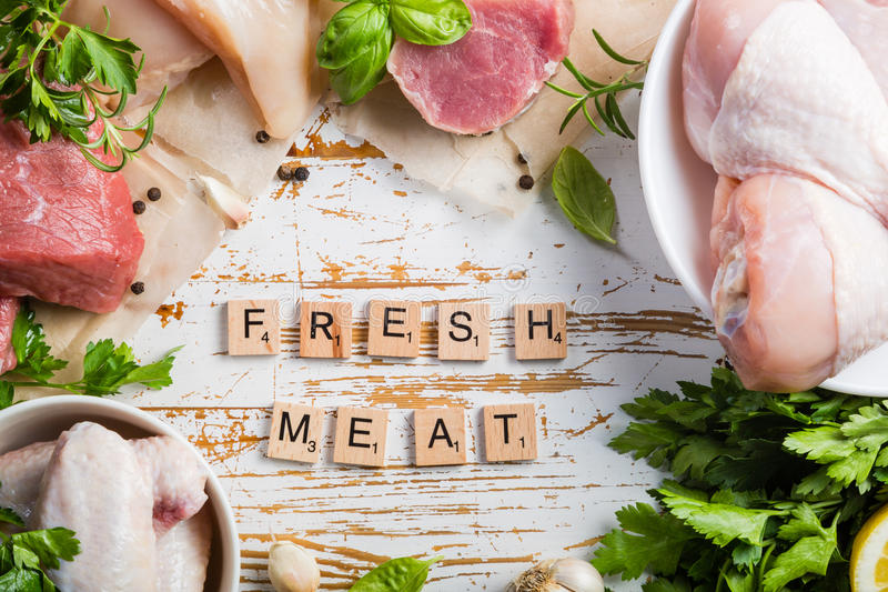 Selection of different meat cuts stock photos