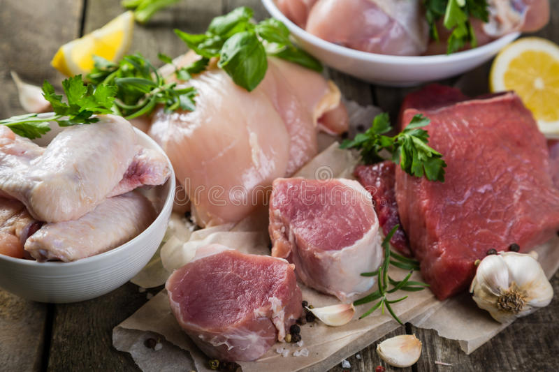 Selection of different meat cuts royalty free stock photo