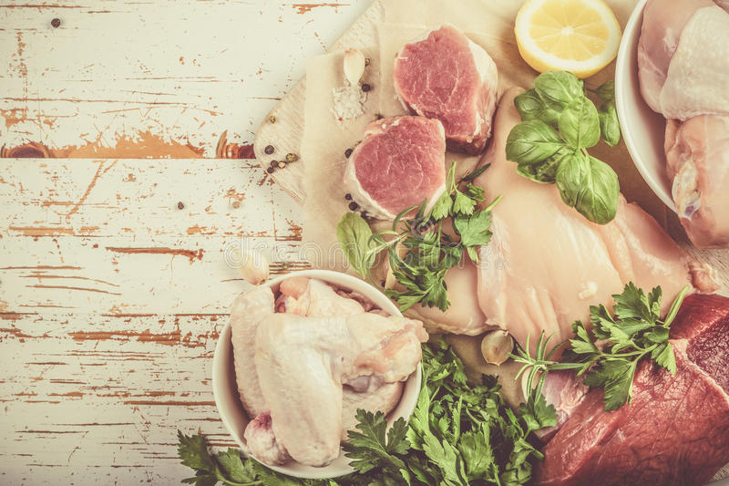 Selection of different meat cuts stock photo