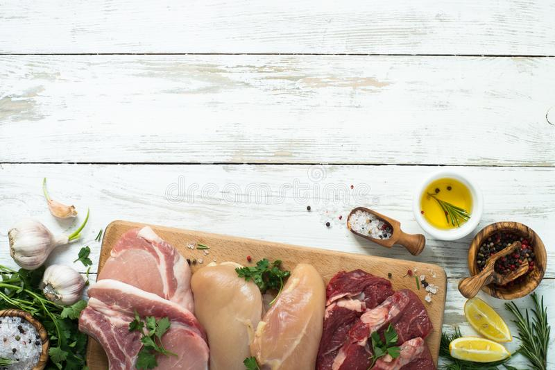 Selection of different meat stock photography