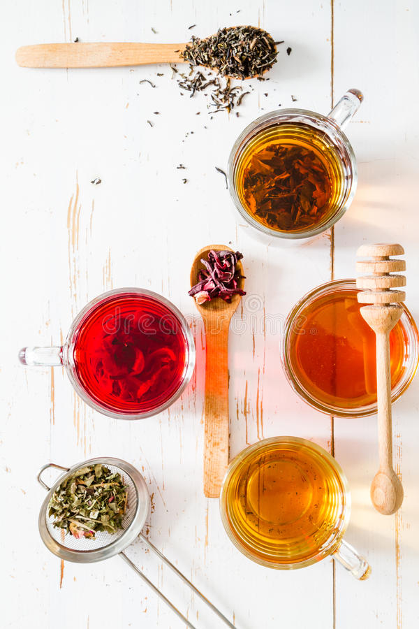 Selection of different teas, top view stock photography