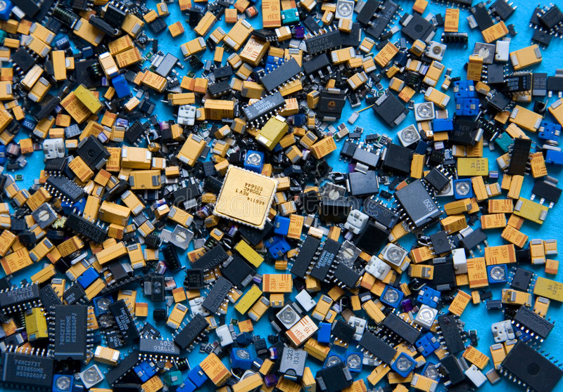 Selection of Electronic Components stock images