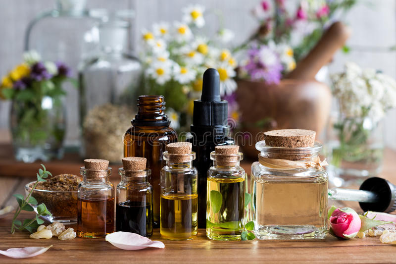 Selection of essential oils with various herbs and flowers royalty free stock photos