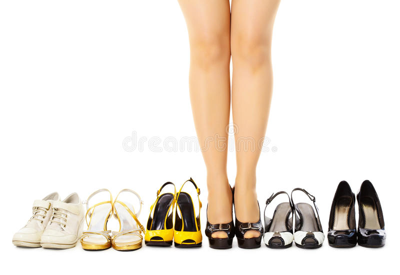 Selection of female shoes for different weather stock images