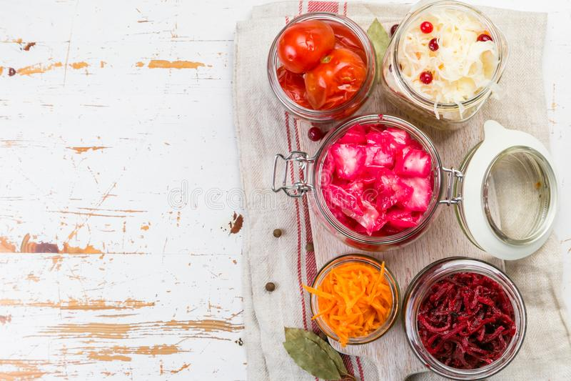 Selection of fermented food - carrot, cabbage, tomatoes, beetroot, copy space royalty free stock image