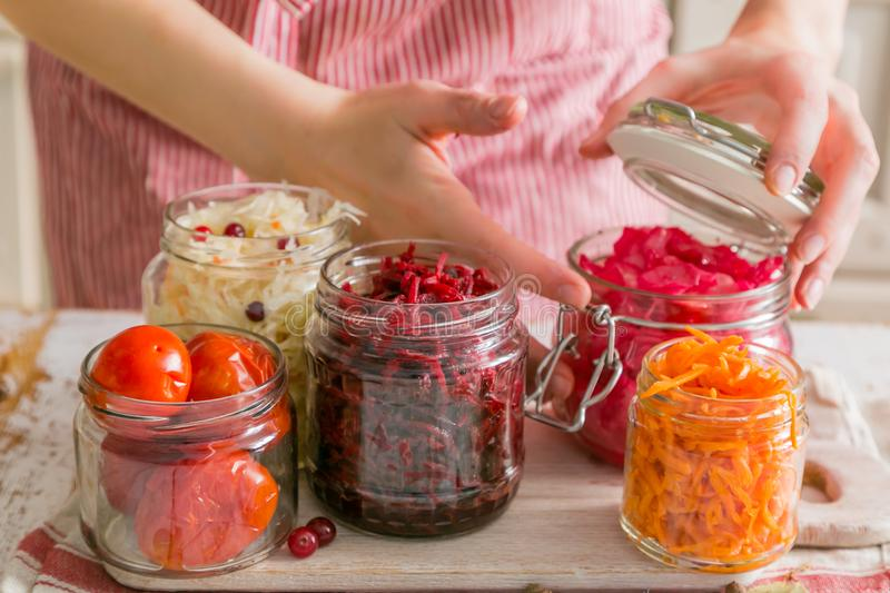Selection of fermented food - carrot, cabbage, tomatoes, beetroot, copy space stock image