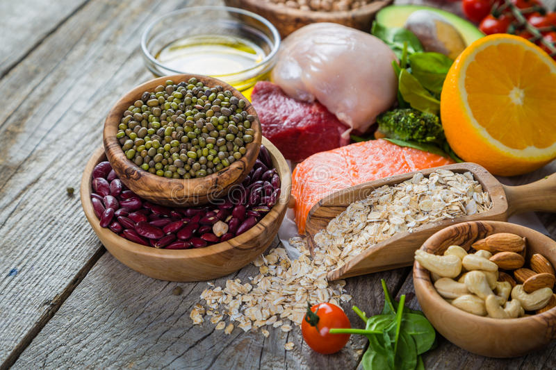 Selection of food that is good for the health and skin royalty free stock images