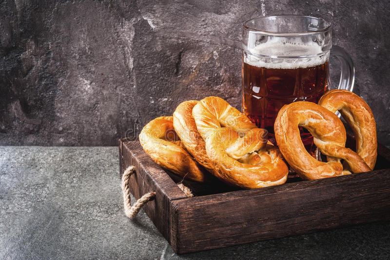 Selection food for Oktoberfest. Selection of traditional German food Oktoberfest. Beer, baked pork shank, popcorn, assortment of different sausages, homemade royalty free stock image