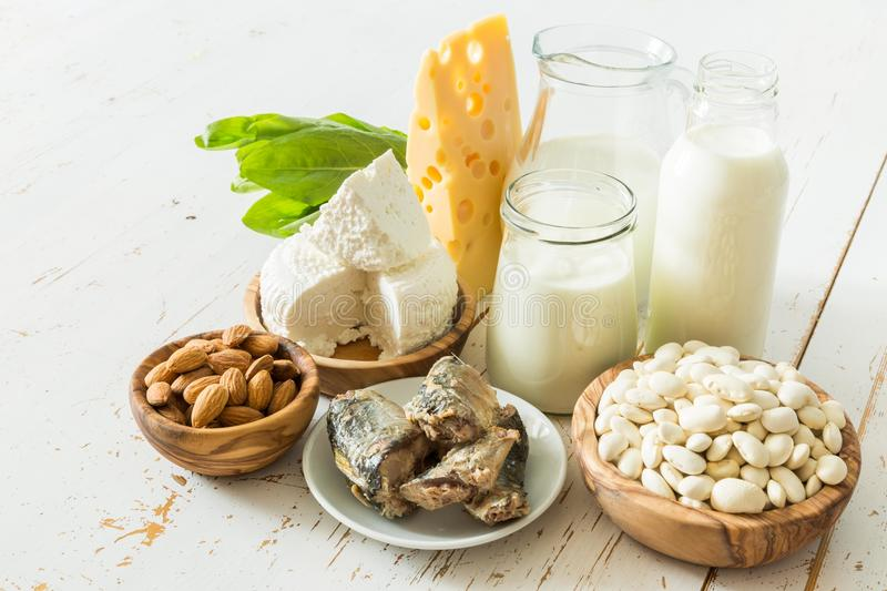 Selection of food that is rich in calcium royalty free stock images