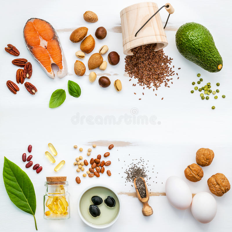 Selection food sources of omega 3 . Super food high omega 3 and stock photos