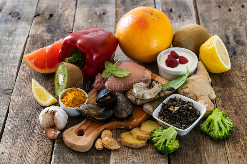 Selection of food to boost immune system - healthy, rich in vitamin and antioxidants. Copy space stock photos