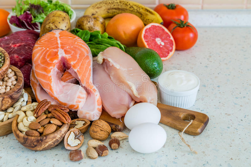 Selection of food for weight loss royalty free stock image