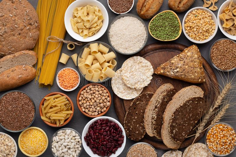 Selection of gluten free products on wooden background stock photo