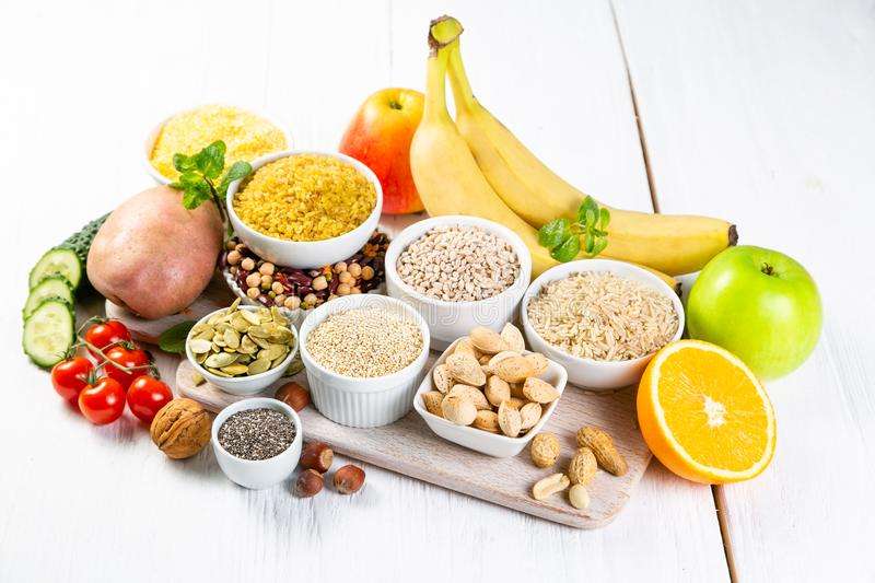 Selection of good carbohydrates sources. Healthy vegan diet stock image