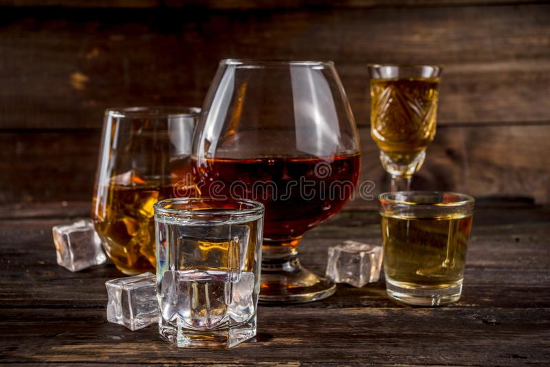 Selection of hard strong alcoholic drinks royalty free stock photography