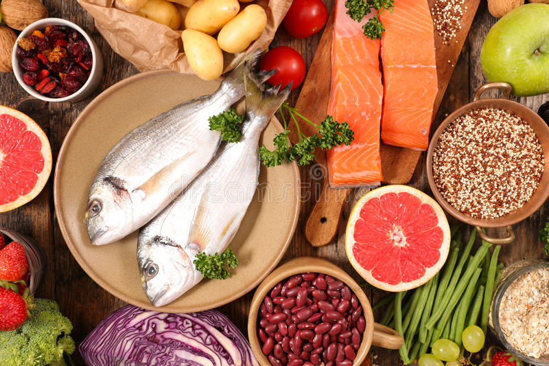 Selection of health food royalty free stock photo
