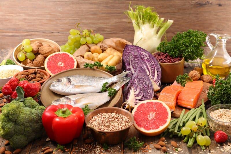 Selection of health food stock image