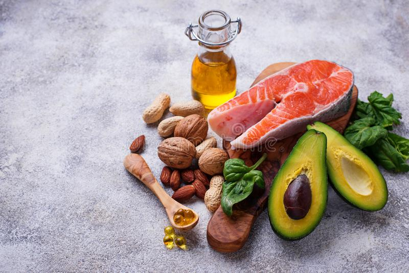 Selection of healthy fat and omega 3 sources. Selective focus royalty free stock photo
