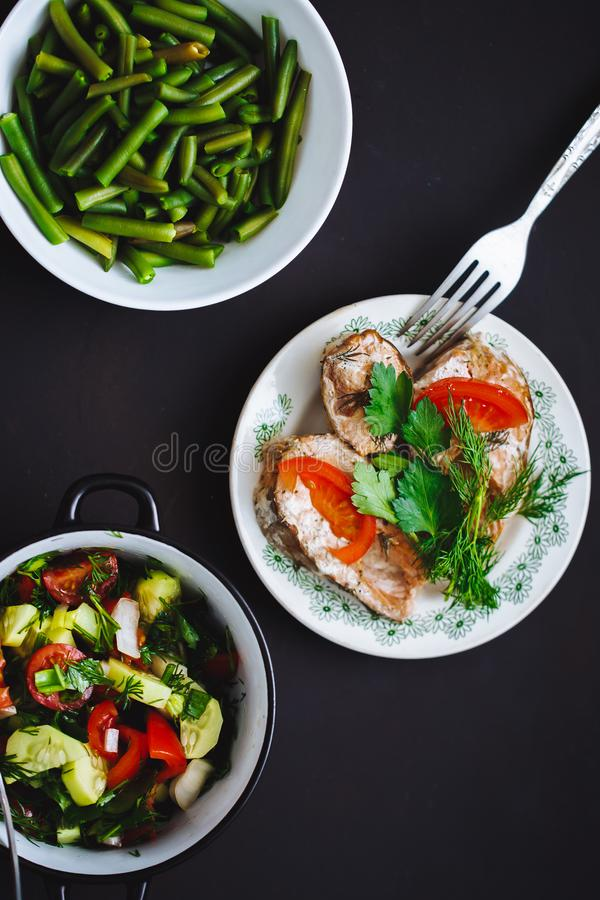 Selection of healthy food stock photo