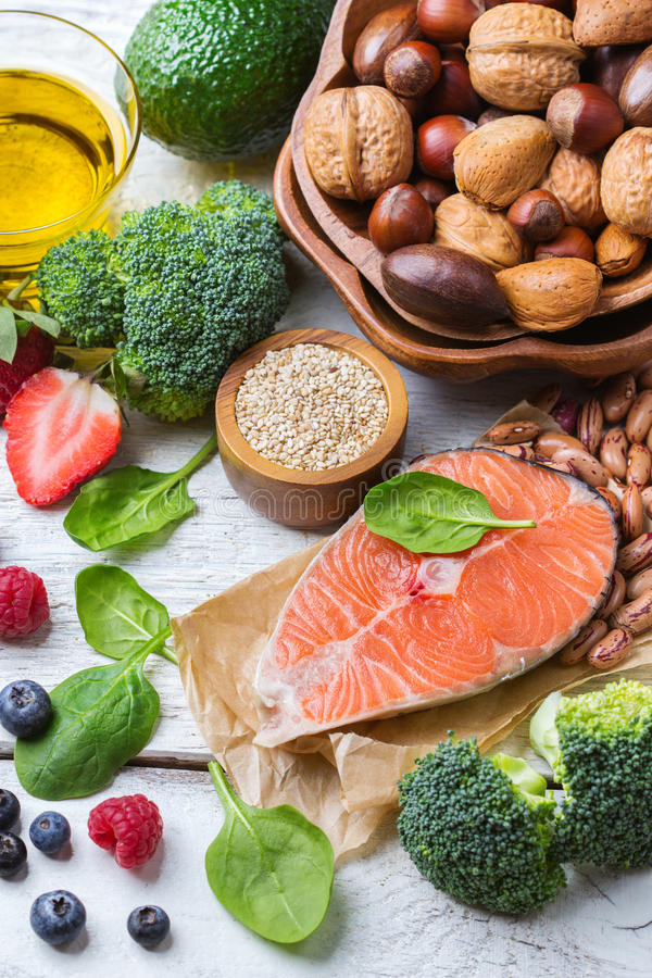 Selection of healthy food for heart, life concept stock photo