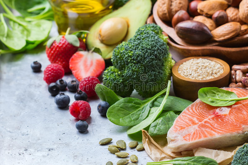 Selection of healthy food for heart, life concept stock photos