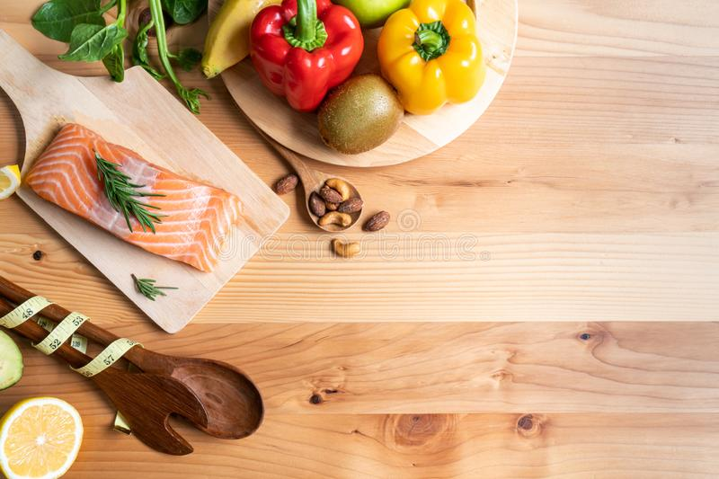 Selection of healthy food for heart. On wooden background stock photos